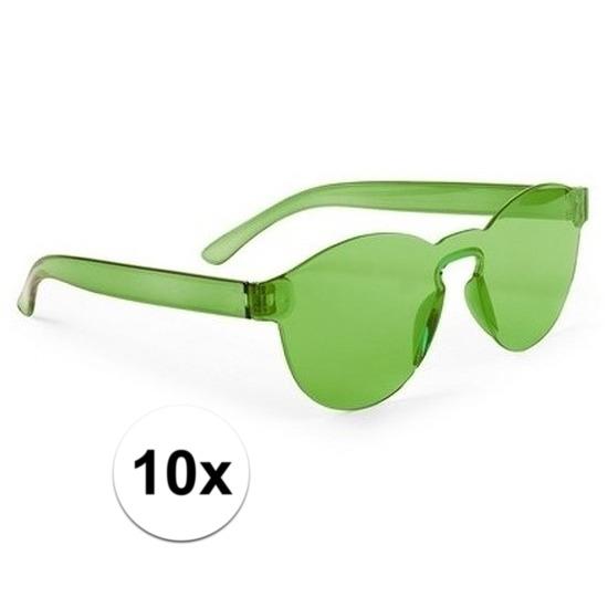 10x Groene verkleed zonnebrillen voor volwassenen