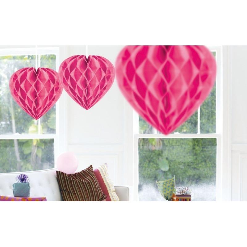 10x Hangende hartje deco bollen roze 30 cm