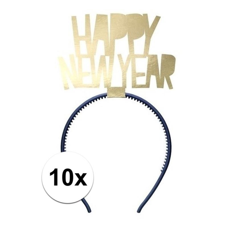 10x Happy New Year diademen voor dames oud en nieuw/nieuwjaar