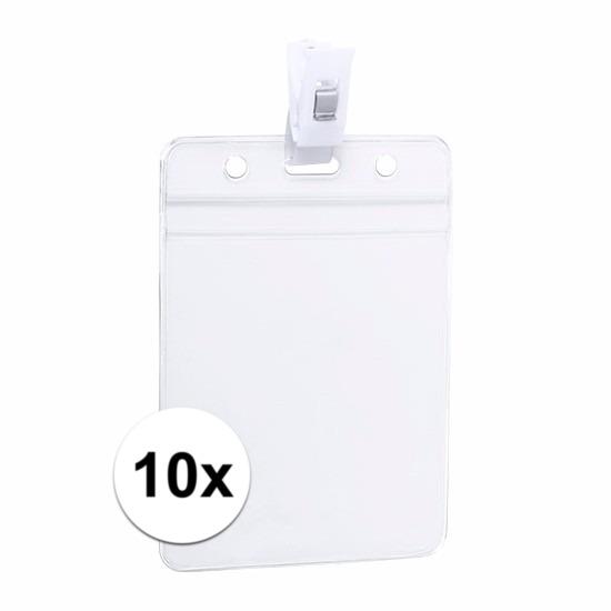10x ID badgehouder met bevestigings clipje 8,5 x 12,2 cm