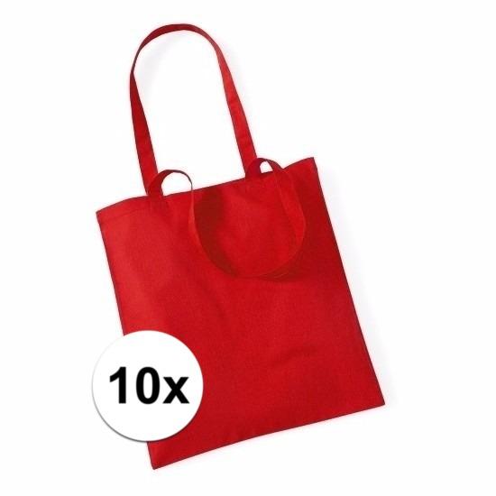 10x Katoenen tasjes rood 42 x 38 cm