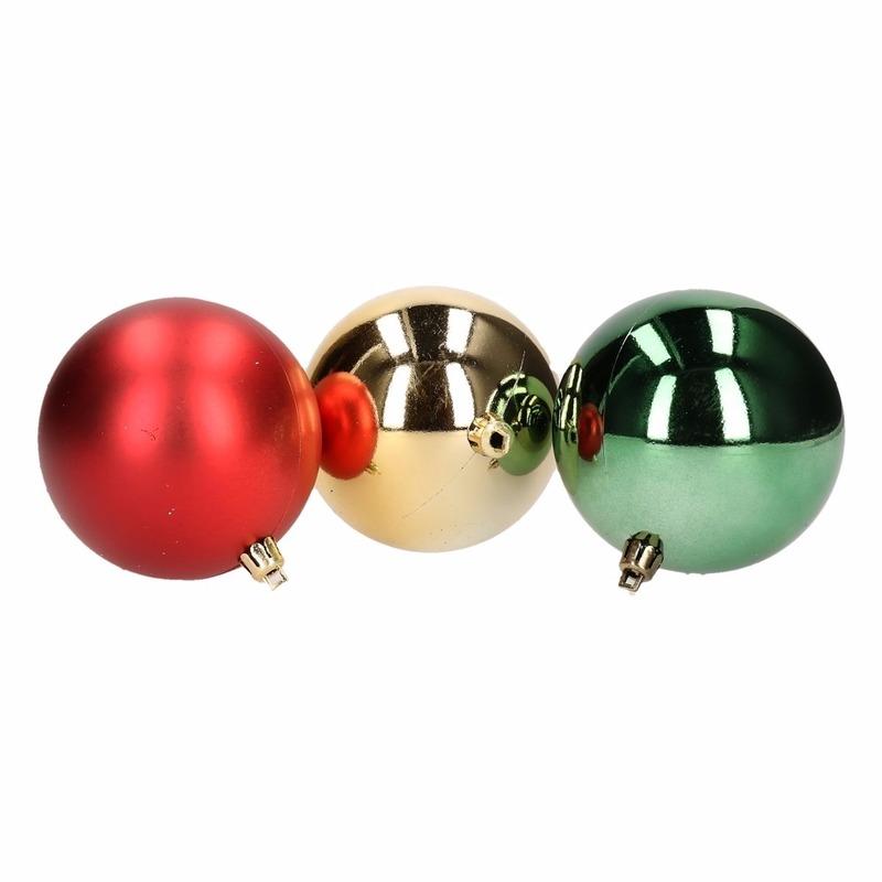 10x Kerstboom decoratie kerstballen mix rood/groen 8cm