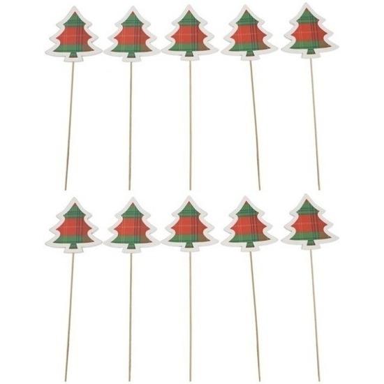 10x Kerststukje onderdelen houten kerstbomen stekers 34 cm