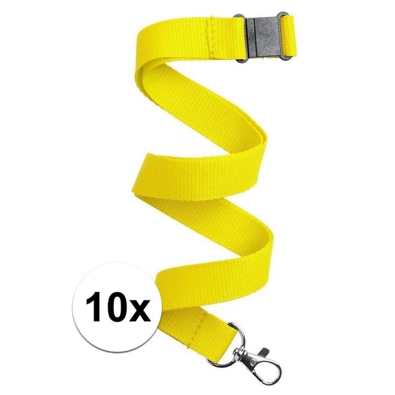10x Keycord/lanyard geel met sleutelhanger 50 cm