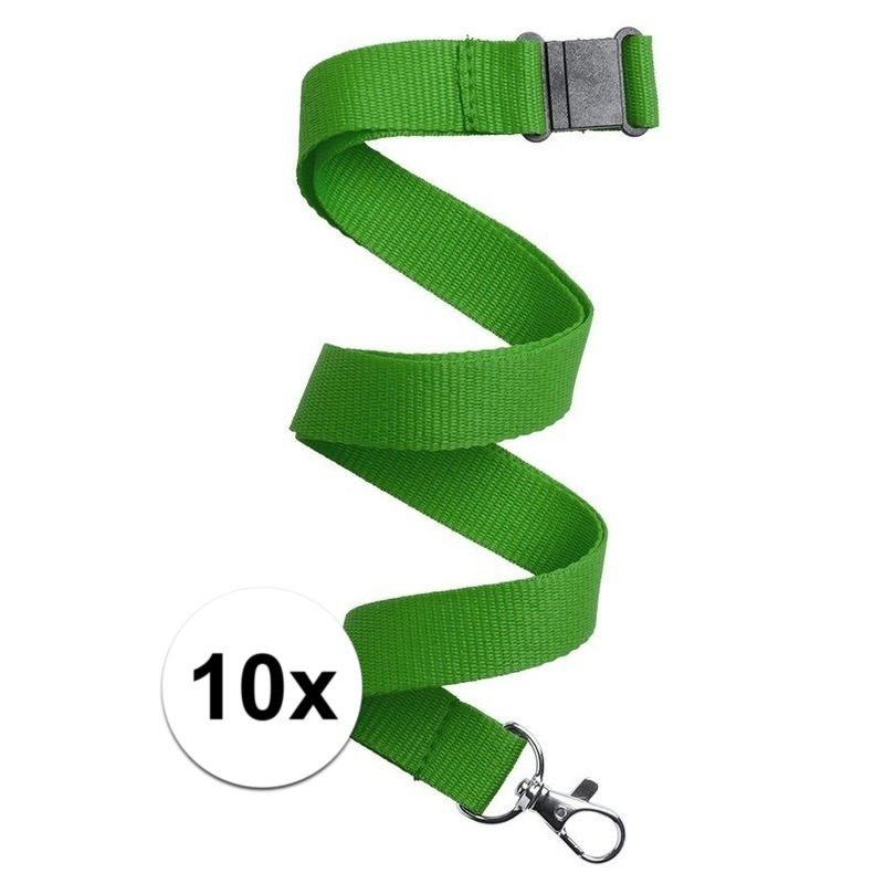 10x Keycord/lanyard groen met sleutelhanger 50 cm