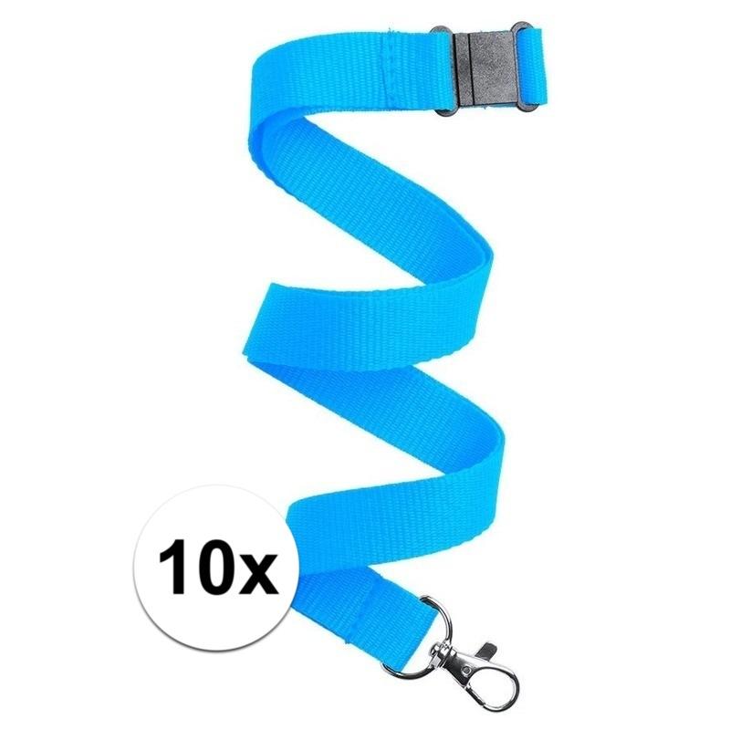 10x Keycord/lanyard licht blauw met sleutelhanger 50 cm