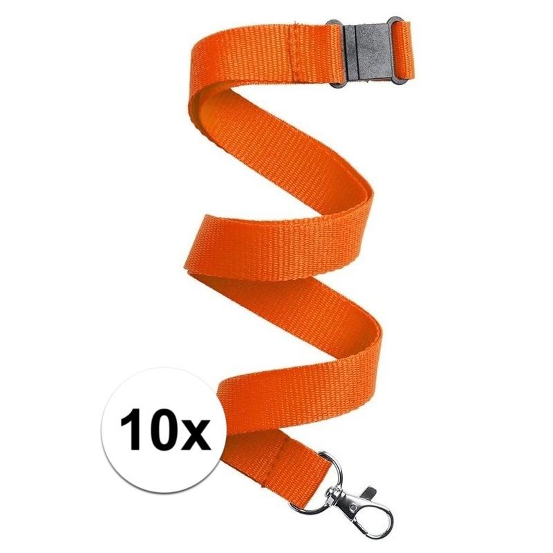 10x Keycord/lanyard oranje met sleutelhanger 50 cm
