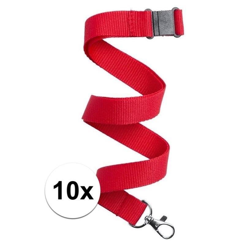 10x Keycord/lanyard rood met sleutelhanger 50 cm