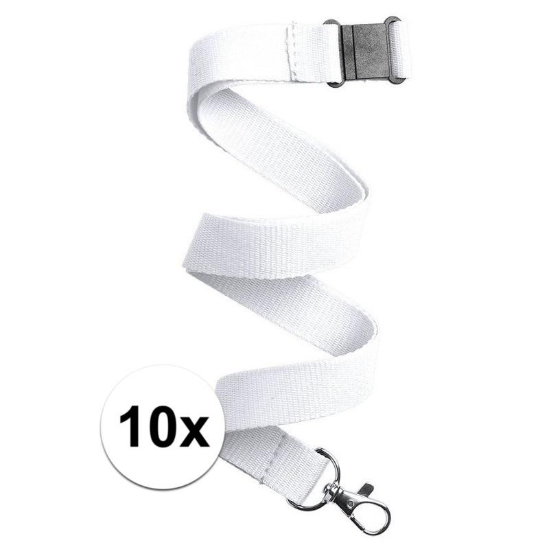 10x Keycord/lanyard wit met sleutelhanger 50 cm