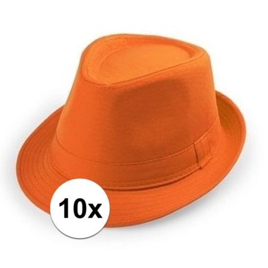 10x Oranje trilby verkleed hoedjes voor volwassenen
