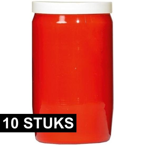 10x Rode grafkaarsen/gedenklichten 7 x 15 cm 6 dagen