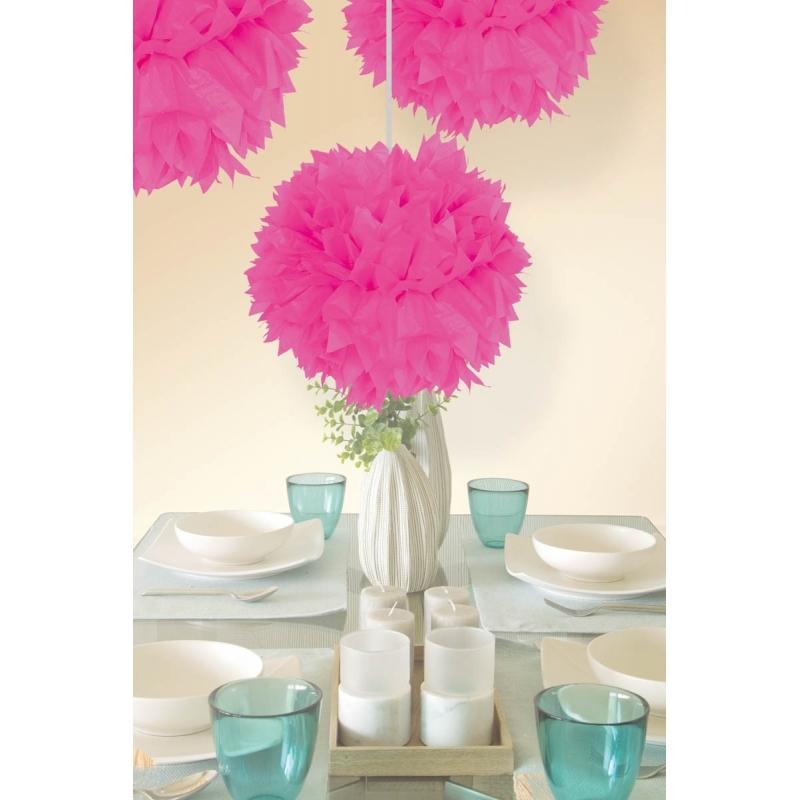 10x stuks decoratie pompoms neon roze 30 cm