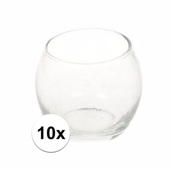10x Theelichthouders transparant 7 cm
