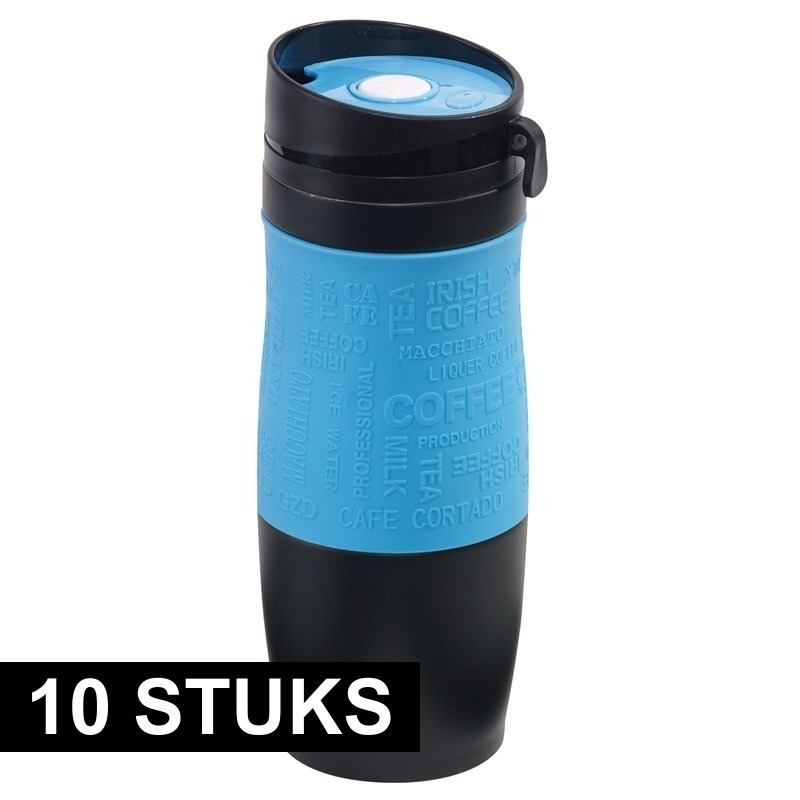 10x Thermosbekers-warmhoudbekers blauw-zwart 380 ml