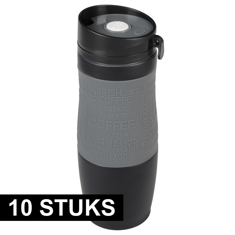 10x Thermosbekers-warmhoudbekers grijs-zwart 380 ml