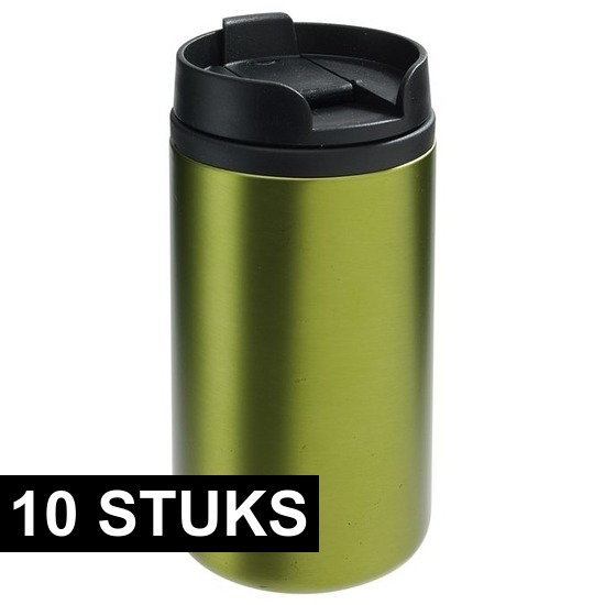 10x Thermosbekers-warmhoudbekers metallic groen 290 ml