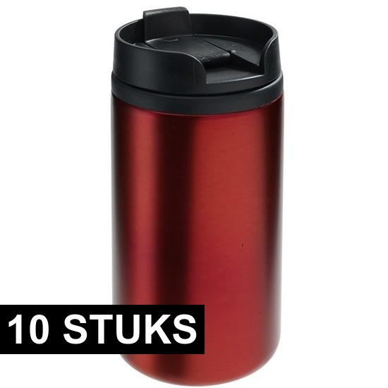 10x Thermosbekers-warmhoudbekers metallic rood 290 ml
