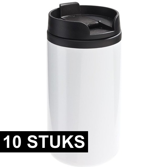 10x Thermosbekers-warmhoudbekers metallic wit 290 ml