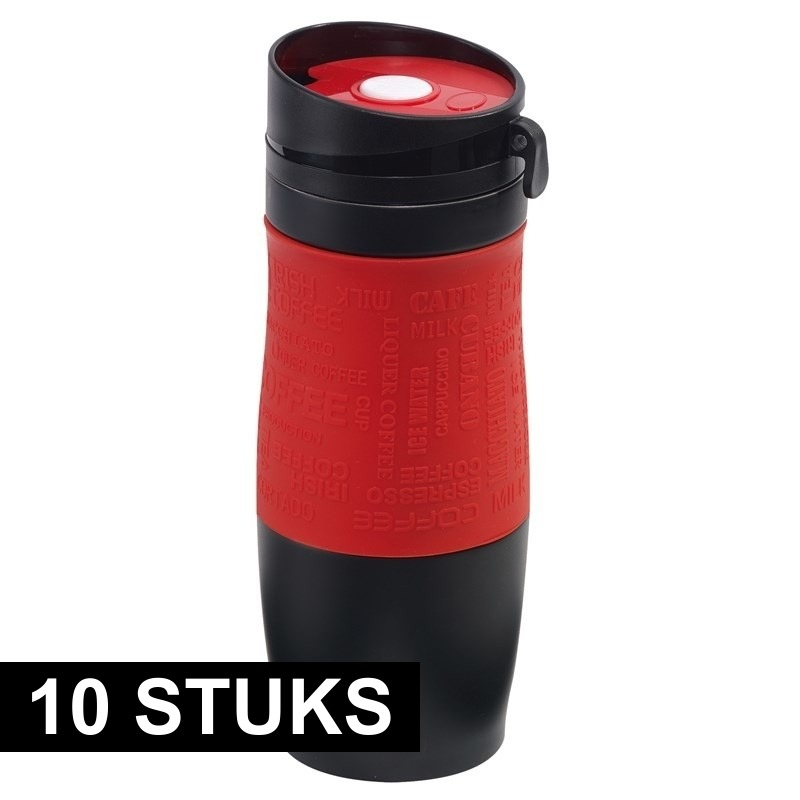 10x Thermosbekers-warmhoudbekers rood-zwart 380 ml