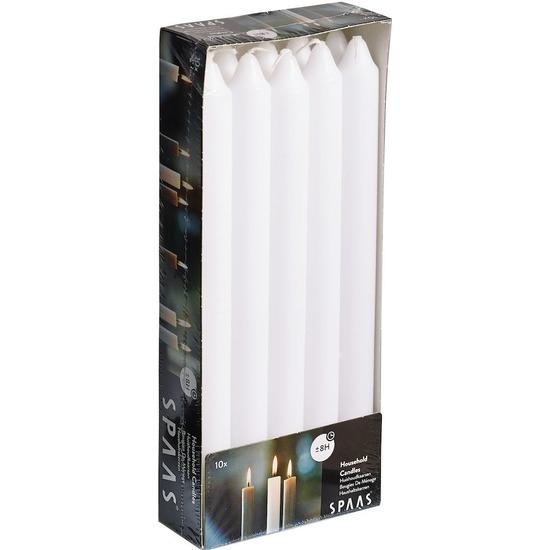 10x Witte rechte dinerkaarsen 24 cm 8 branduren