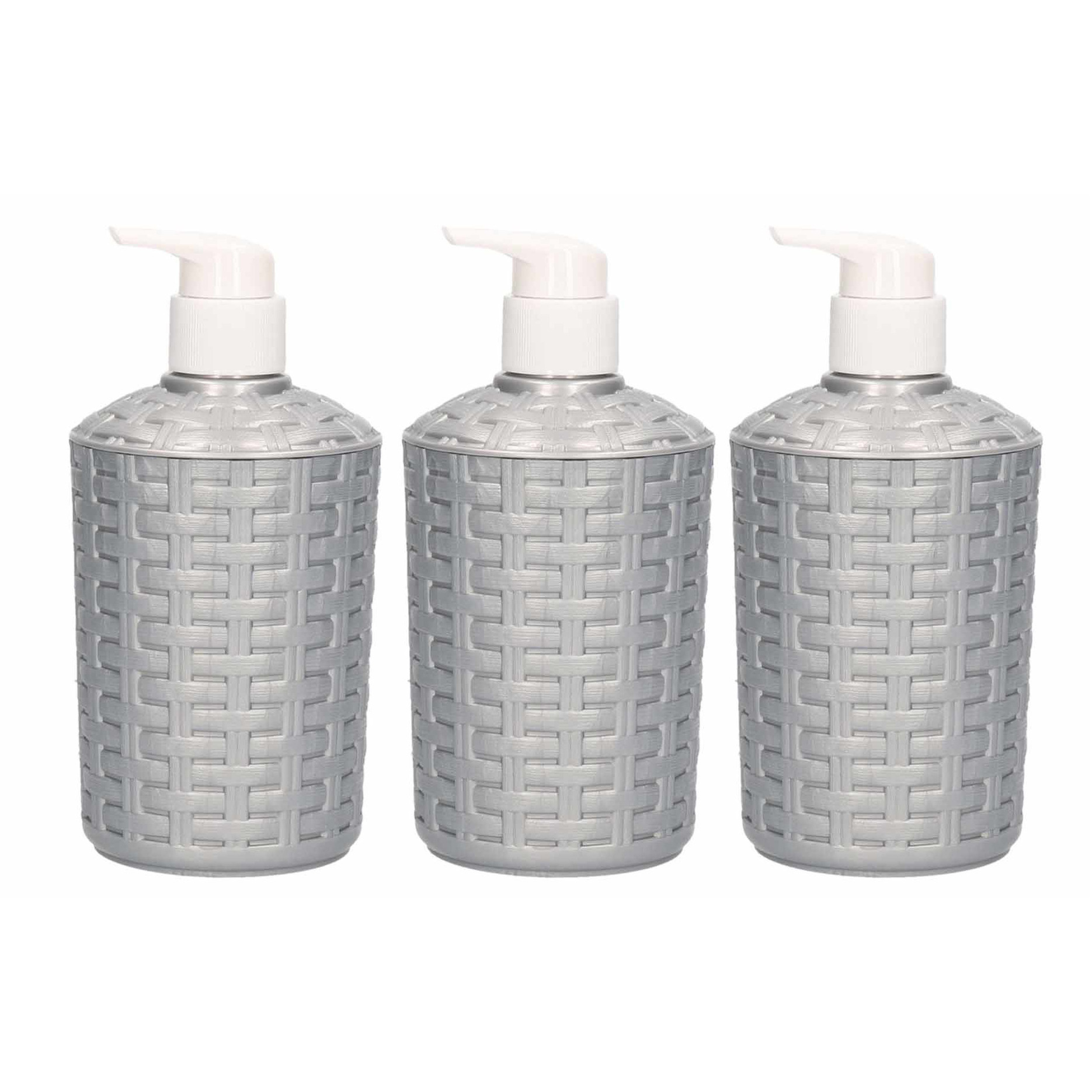 10x Zeep pompjes-dispensers zilver geweven 16 cm