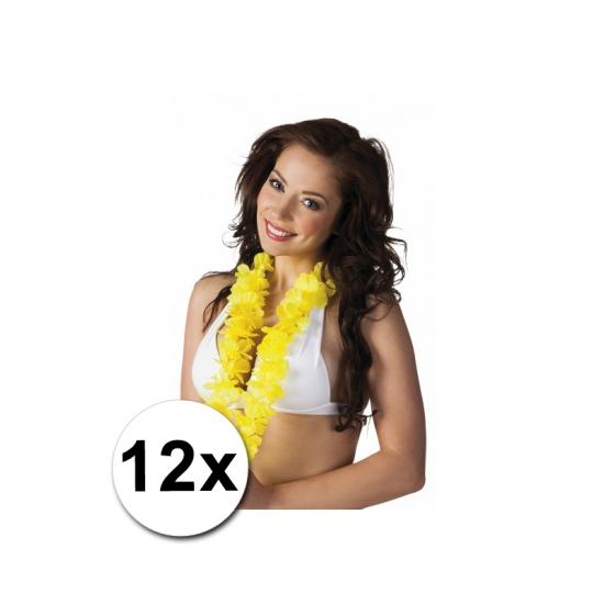 12 gele Hawaii slingers