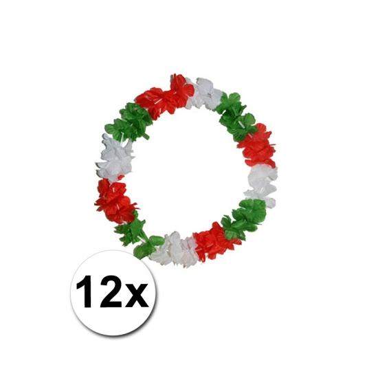 12 Hawaii kransen rood, groen en wit