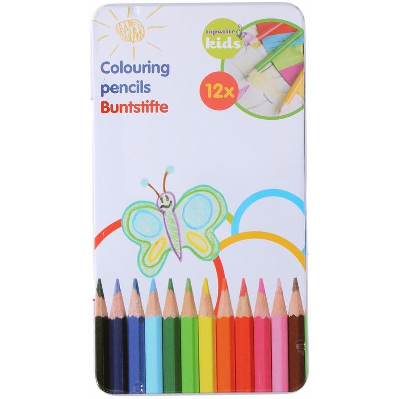 12 kleurpotloden Topwrite Kids in blikje