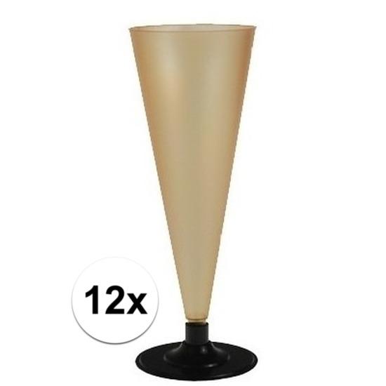 12 x Champagne glazen goudkleurig Goudkleurig