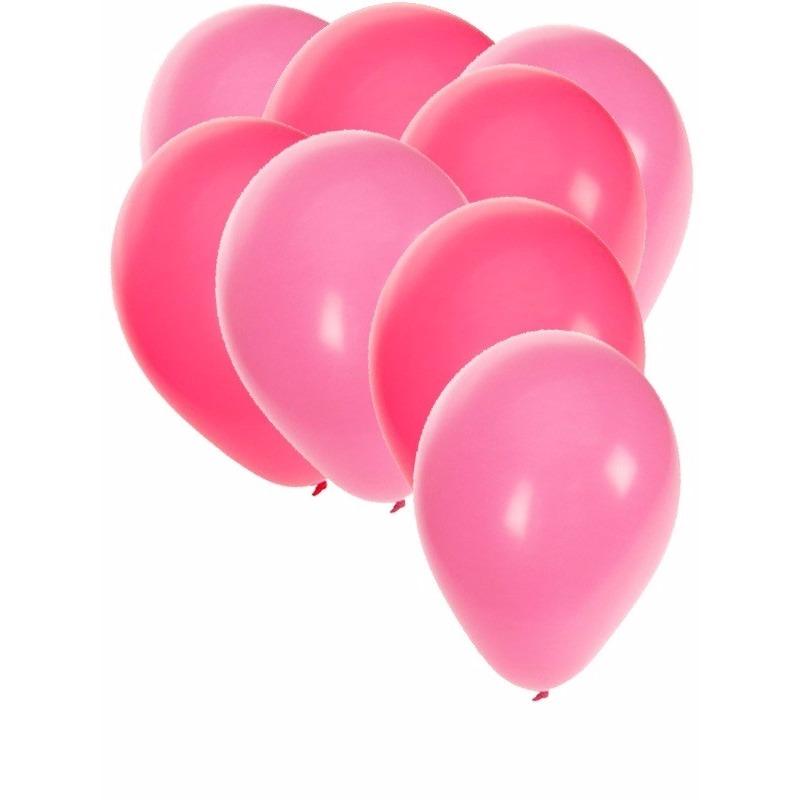 120x stuks party ballonnen - 27 cm - roze - lichtroze versiering