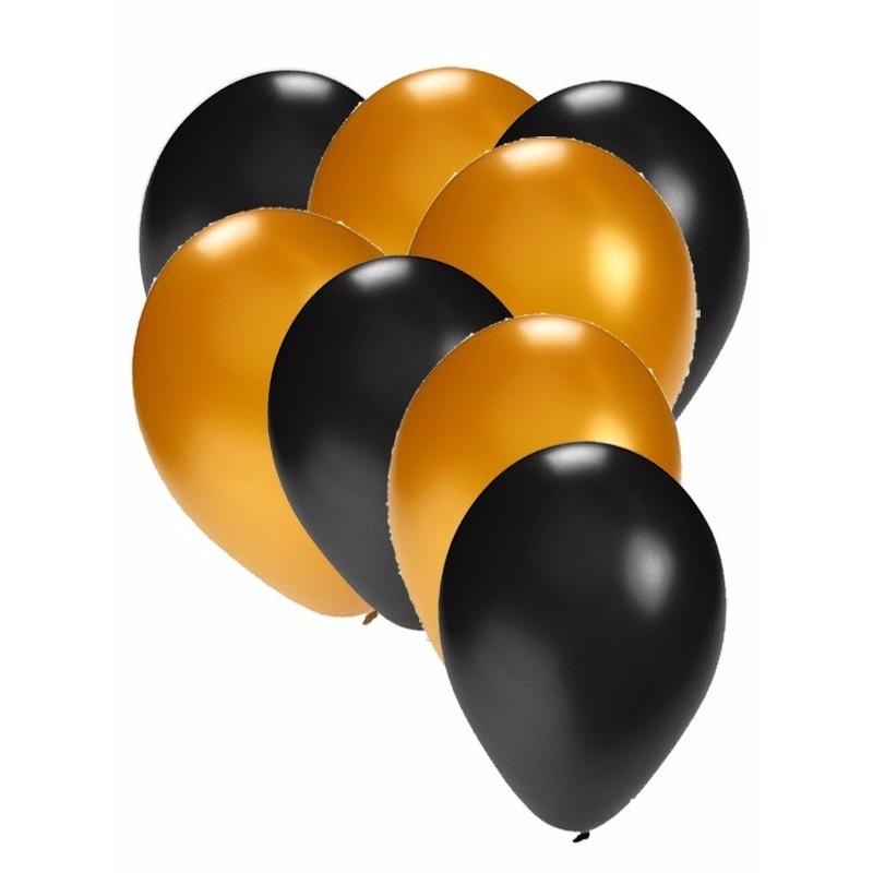 120x stuks party ballonnen zwart en goud 27 cm