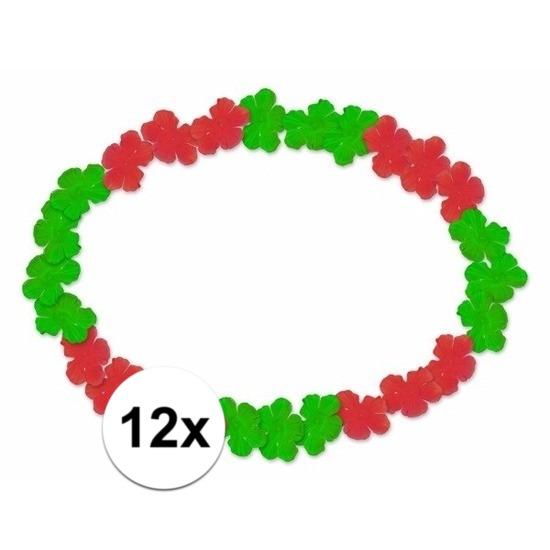 12x Hawaii kransen rood/groen