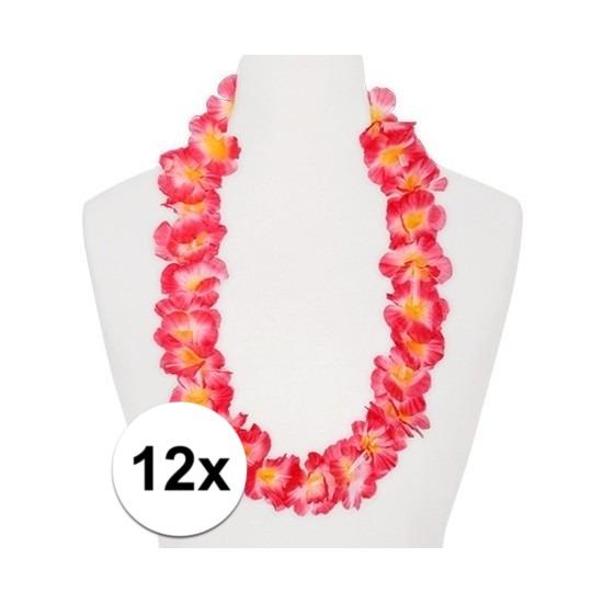 12x Hawaii kransen roze/oranje