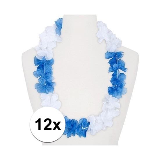 12x Hawaii kransen wit/blauw