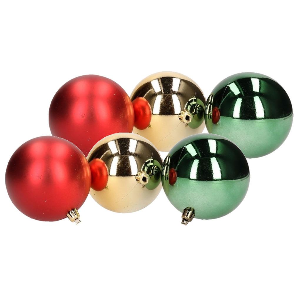 12x Kerstboom decoratie kerstballen mix rood/groen 7 cm