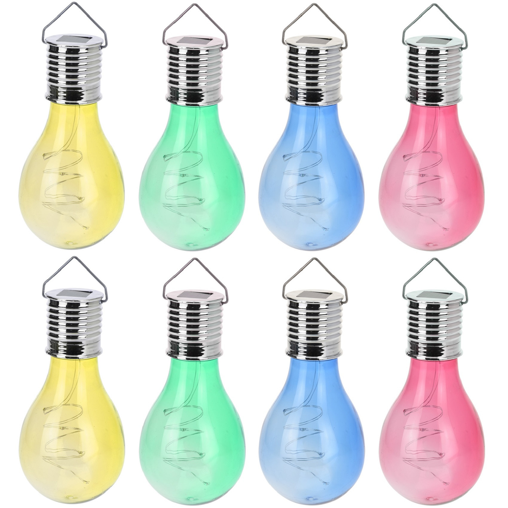 12x Solar hang lampenbolletjes gekleurd op zonne-energie 15 cm tuinverlichting Multi