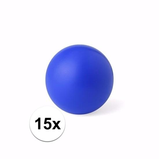 15 blauwe anti stressballetjes 6 cm