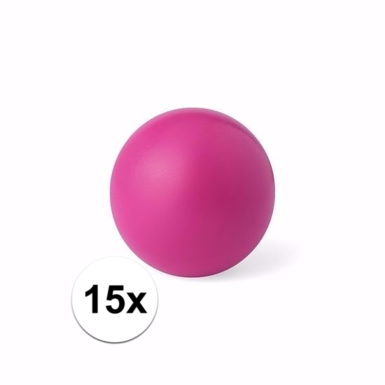 15 roze anti stressballetjes 6 cm