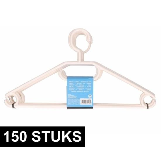 150x Plastic kledinghangers wit