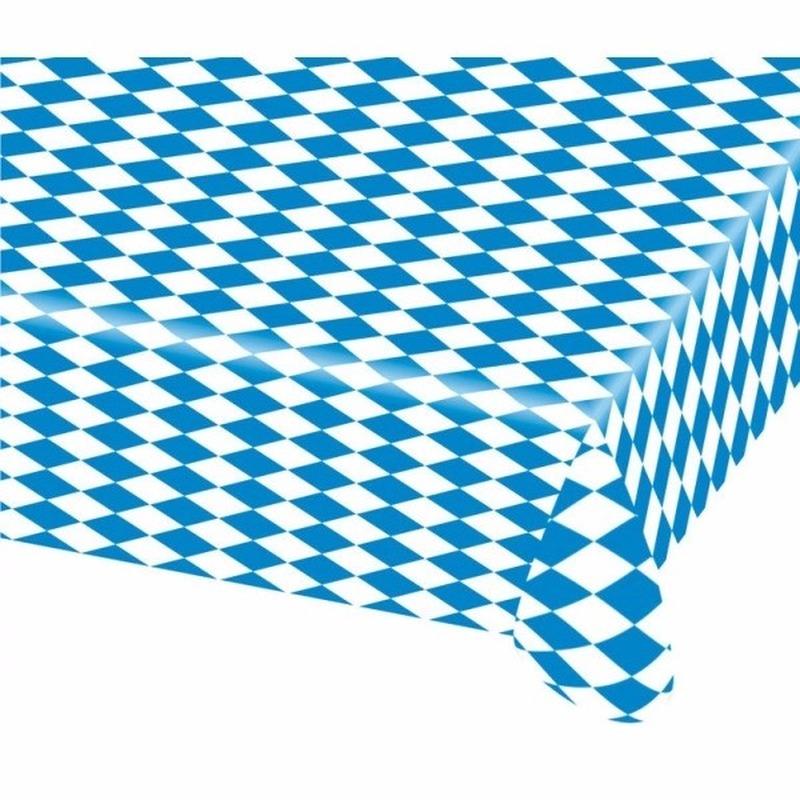 15x Beieren/Oktoberfest tafelkleden blauw wit 80 x 260 cm