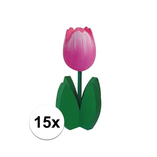 15x Decoratie houten roze tulpen