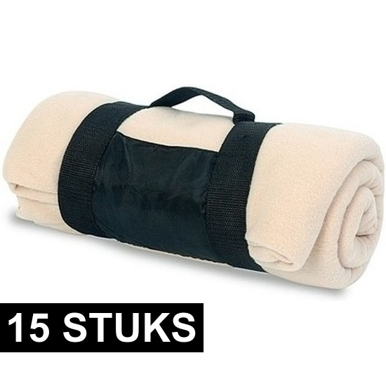 15x Fleece dekens/plaids beige afneembaar handvat 160 x 130 cm