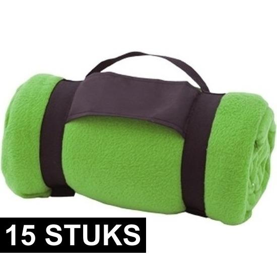 15x Fleece dekens/plaids groen afneembaar handvat 160 x 130 cm