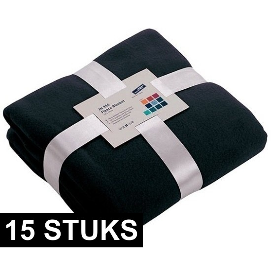 15x Fleece dekens/plaids marineblauw 130 x 170 cm