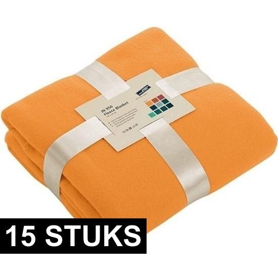 15x Fleece dekens/plaids oranje 130 x 170 cm