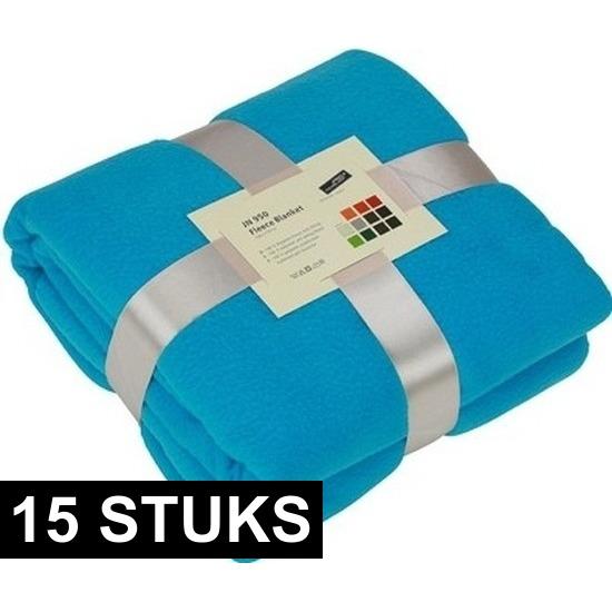 15x Fleece dekens/plaids turquoise 130 x 170 cm