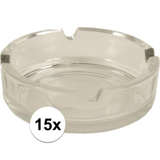 15x Glazen asbakken 10.5 cm