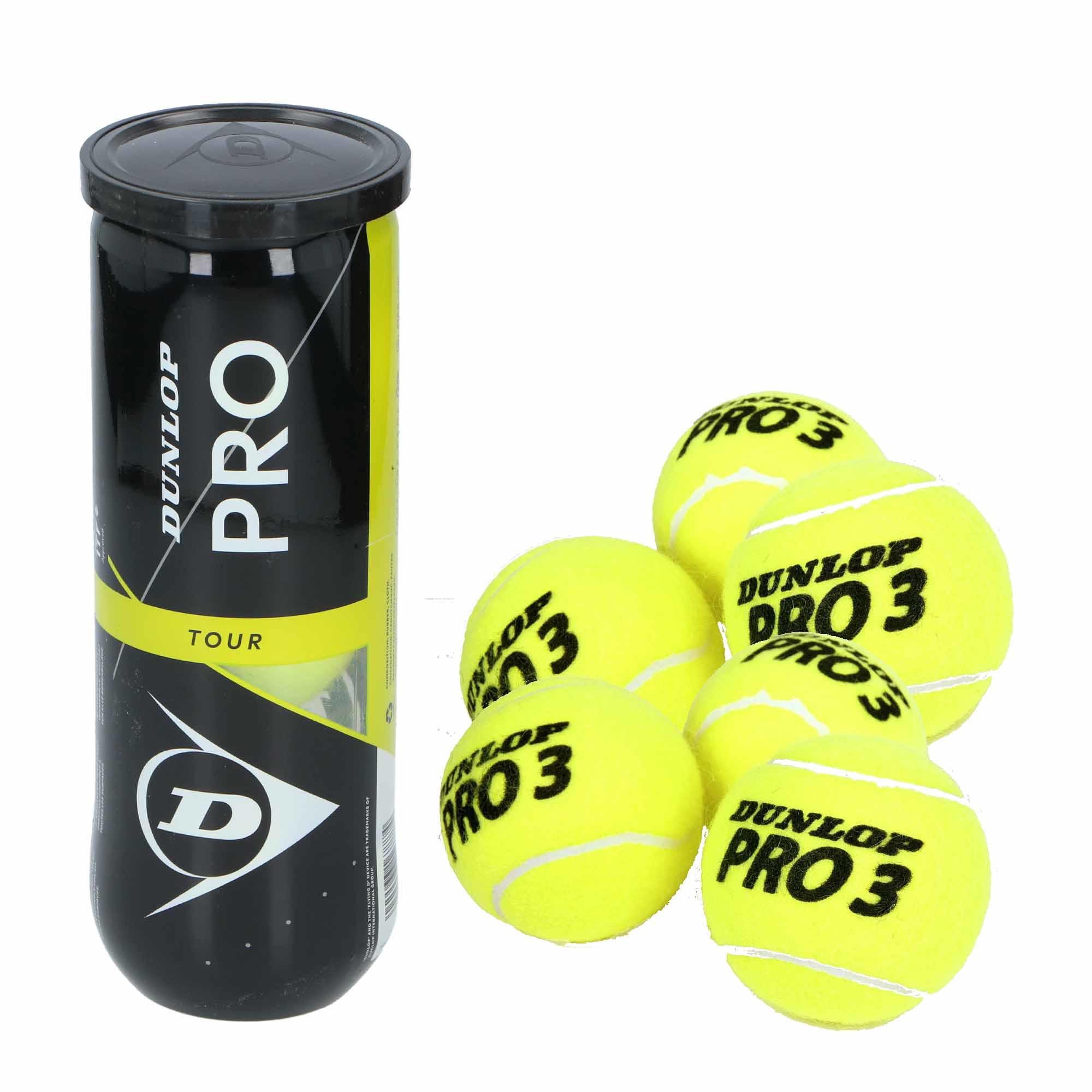 15x Professionele Dunlop Pro-tour tennisballen in koker