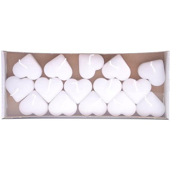 15x Witte harten drijfkaarsen 3,8 cm 4 branduren