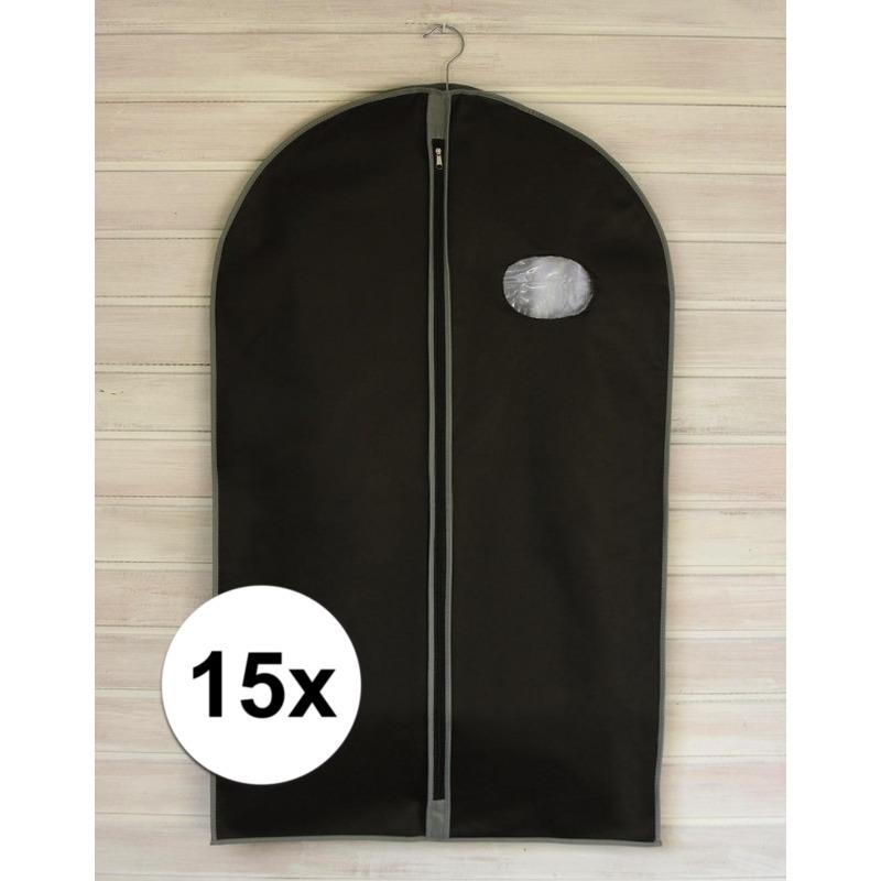 15x Zwarte kledinghoezen met rits 100 cm